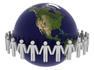 People holing hands around the world