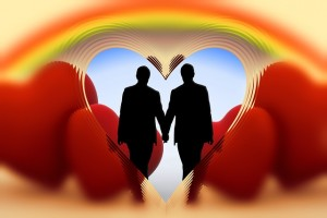 Heart with rainbow and gay couple