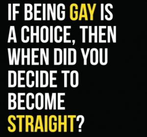 If being gay is a choice when did you decide to become straight?