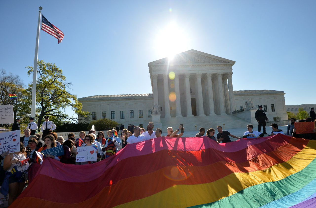 Supporters of same-sex marriages gather outside the US Supreme Court
